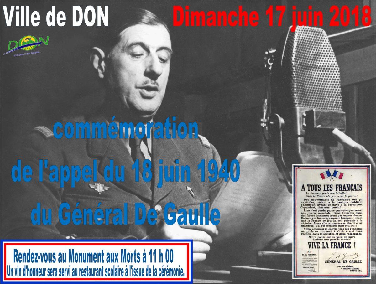 Commémoration de l'appel du 18 juin 1940