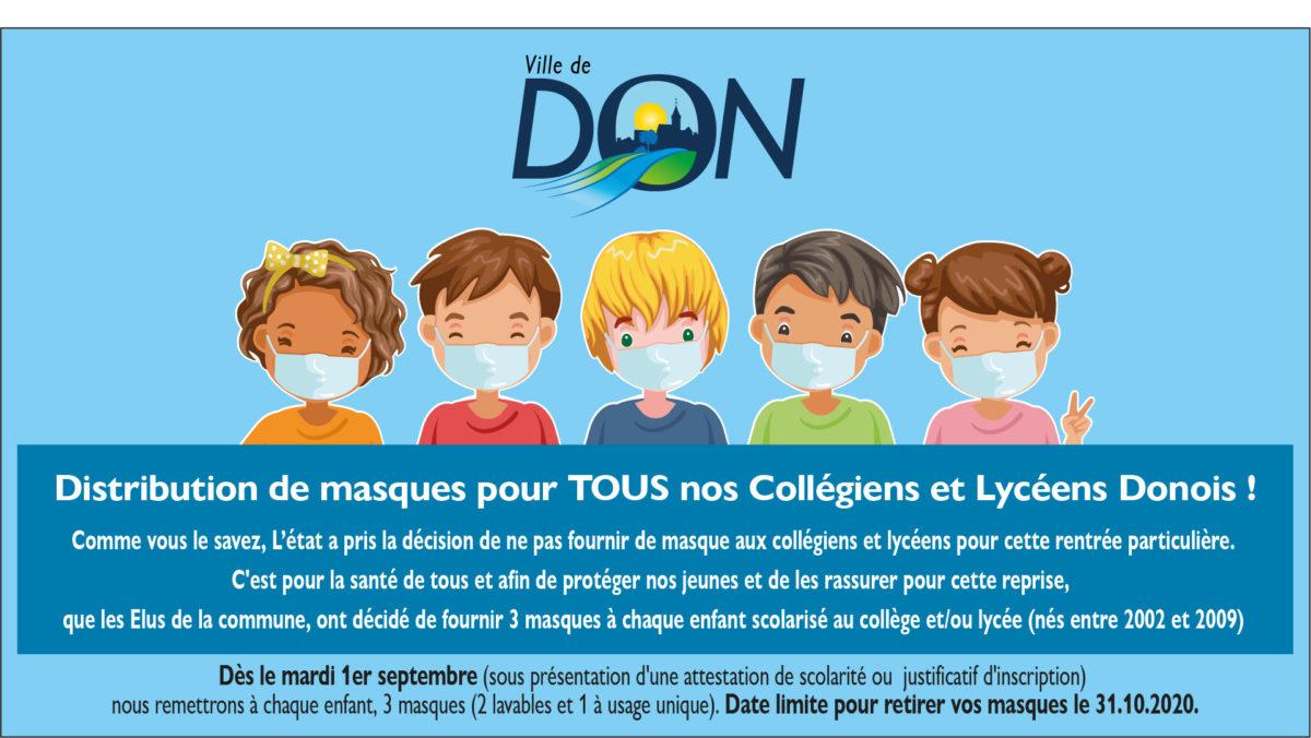 Masques pour les collégiens et les lycéens Donois