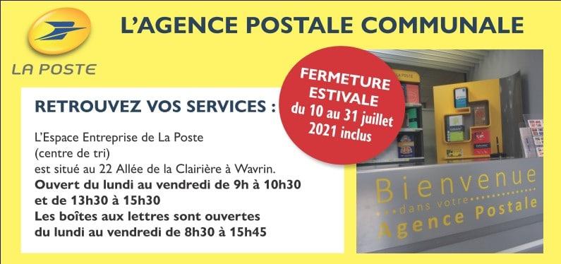 Fermeture congés période estivale de l'Agence Postale Communale