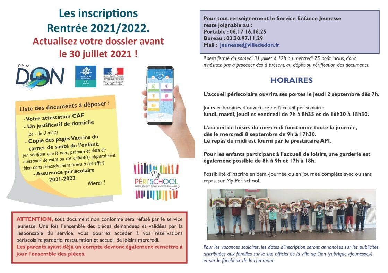 Inscription ou actualisation sur MyPérischool rentrée 2021/2022